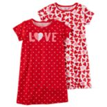 Girls 4-12 Carter's 2-pk.  Love & Hearts Graphic 2-pk NightGowns