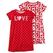 Girls 4-12 Carter's 2 pk Love & Hearts Graphic 2 pkNightGowns