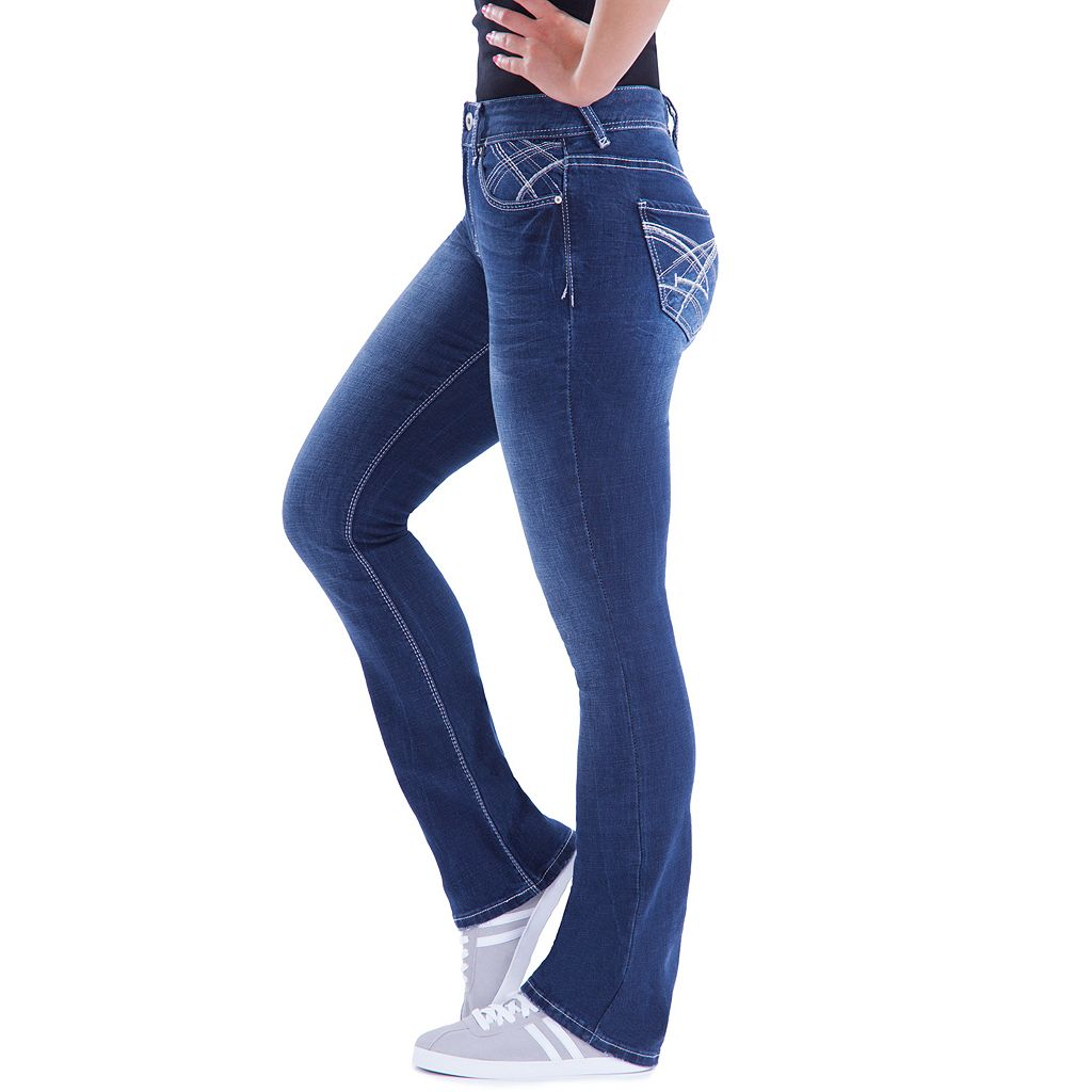 Juniors' Amethyst Curvy Fit Baby Bootcut Jeans