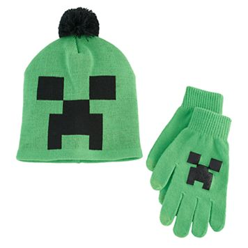 Boys Minecraft Creeper Hat & Gloves Set