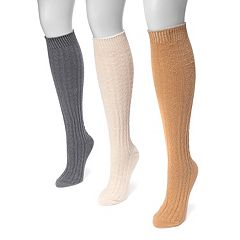 Women's MUK LUKS 3-pk. Cable-Knit Knee-High Socks