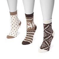 Women's MUK LUKS 3-pk. Printed Crew Socks