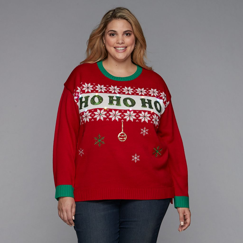 Plus Size Fashion Avenue US Sweaters Applique Ugly Christmas Sweater