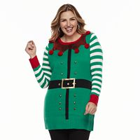 Plus Size Fashion Avenue US Sweaters Applique Ugly Christmas Sweater Tunic