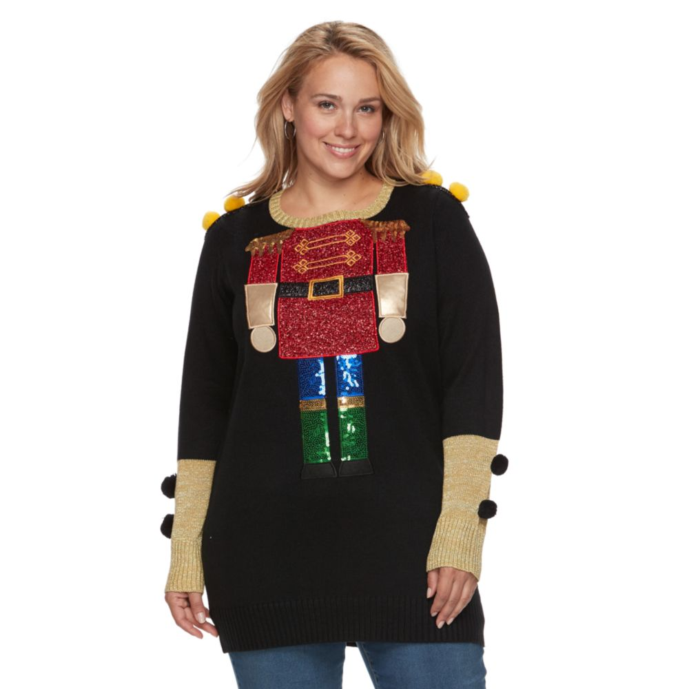 size fashion avenue us sweaters applique ugly christmas sweater tunic