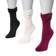 Women's MUK LUKS 3-pk. Ruffled Roll-Top Socks