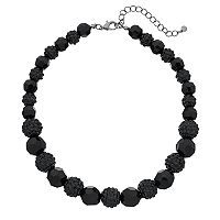Black Graduated Beaded Necklace