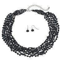 Black Beaded Chunky Necklace & Drop Earring Set