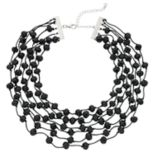 Black Beaded Layered Choker Necklace