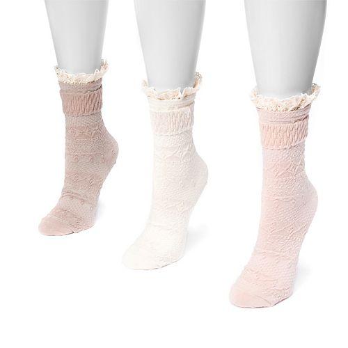 Women's MUK LUKS 3-pk. Lace Cuff Slipper Socks