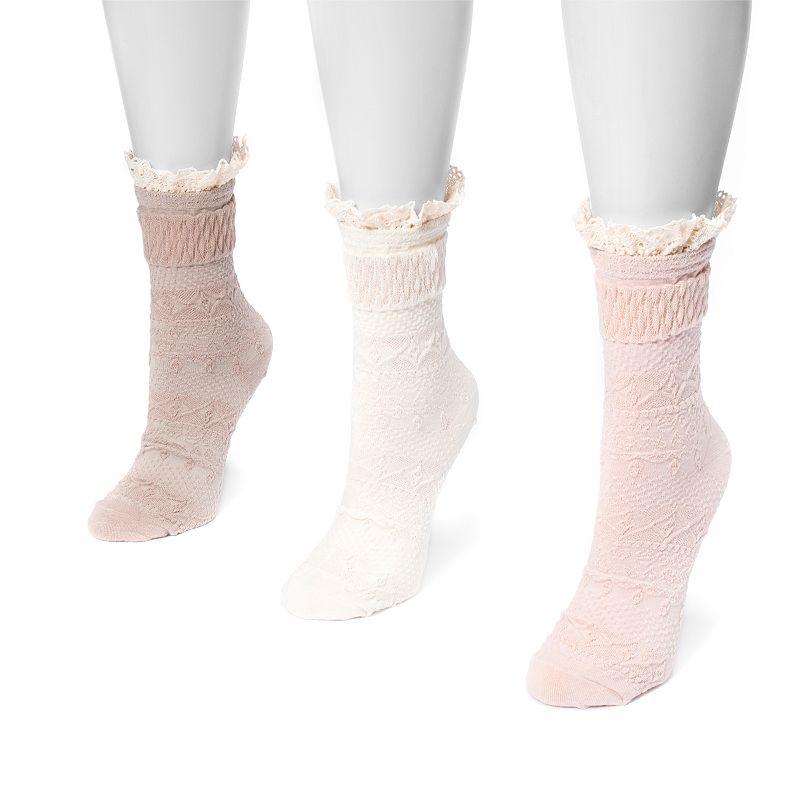 Women's MUK LUKS 3-Pack Lace Cuff Boot Socks, Blush Pack