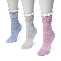 Women's MUK LUKS 3 pkLace Cuff Slipper Socks