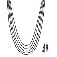 Long Black Beaded Multi Strand Necklace & Tassel Earring Set