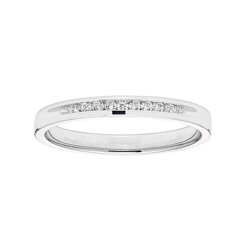 Lovemark 10k White Gold 1/10 Carat T.W. Diamond Anniversary Ring