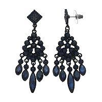 Blue Marquise Chandelier Earrings