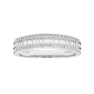 Lovemark 10k White Gold 1/2 Carat T.W. Diamond Multi Row Ring