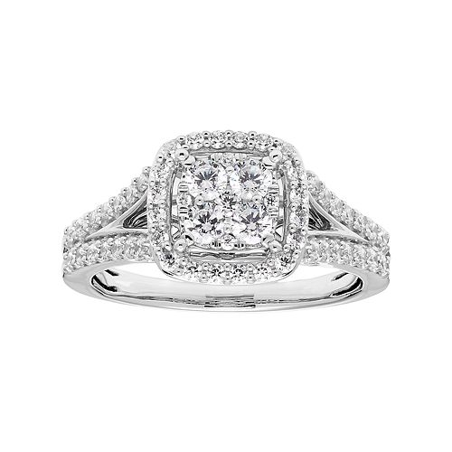 Lovemark 10k White Gold 3/4 Carat T.W. Diamond Cluster Square Halo Ring
