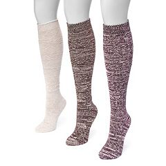Women's MUK LUKS 3 pkKnee-High Trouser Socks