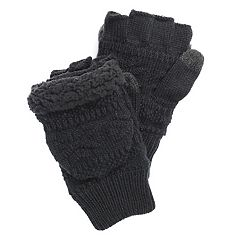 Men's MUK LUKS Faux-Fur Fingerless Flip Mittens