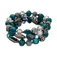 Green Fireball Bead Stretch Bracelet Set