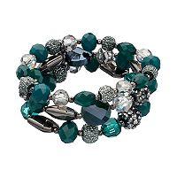 Green Caviar Bead Stretch Bracelet Set