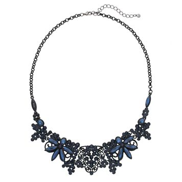 Blue Filigree Flower Statement Necklace