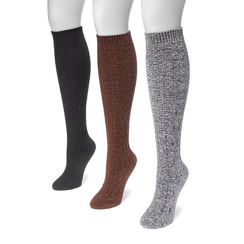 Women's MUK LUKS 3-pk. Crosshatch-Knit Knee-High Socks
