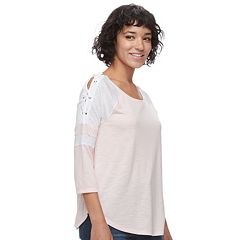 Juniors' SO® Lace-up Raglan Tee