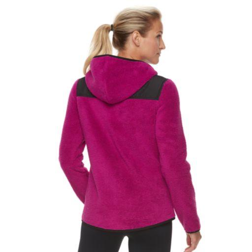 Women's FILA SPORT® Woven Detail Fleece Zip-Up Hoodie