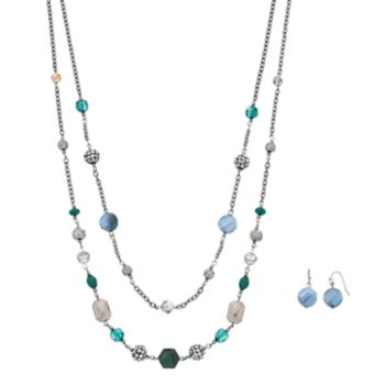 Blue Geometric Bead Double Strand Necklace & Drop Earring Set