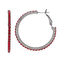 Red Simulated Crystal Hoop Earrings