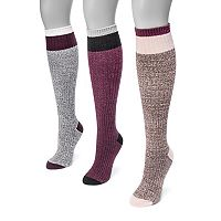 Women's MUK LUKS 3-pk. Colorblock Knee-High Socks