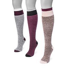 Women's MUK LUKS 3 pkColorblock Knee-High Socks