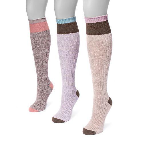 Women's MUK LUKS 3-pk. Colorblock Knee-High Socks