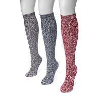 Women's MUK LUKS 3-pk. Cable-Knit Knee-High Trouser Socks