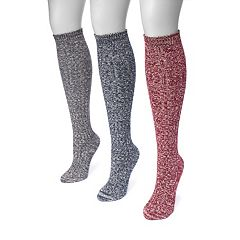 Women's MUK LUKS 3-pk. Cable-Knit Knee-High Trouser Socks