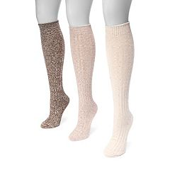 Women's MUK LUKS 3 pkCable-Knit Knee-High Trouser Socks