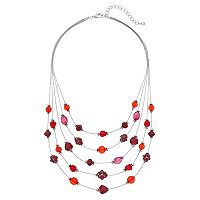 Red Beaded Fireball Multi Strand Illusion Necklace