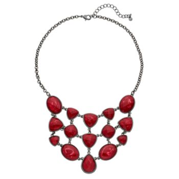 Red Swirling Geometric Swag Necklace