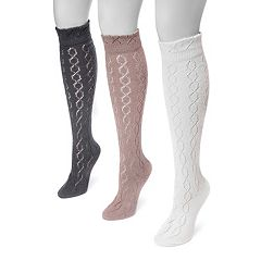 Women's MUK LUKS 3-pk. Pointelle Knee-High Socks