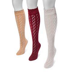 Women's MUK LUKS 3 pkPointelle Knee-High Socks