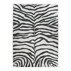 Ruggable® Washable Zebra Print 2 pc Indoor Outdoor Rug System - 5' x 7'