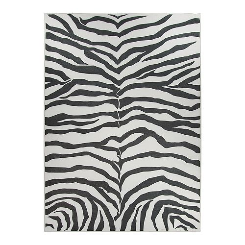 Ruggable Washable Zebra Print 2 Piece Indoor Outdoor Rug System 5