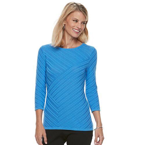 Petite Dana Buchman Diagonal Textured Sweater