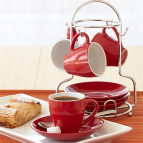 IMUSA 8-pc. Espresso Cup & Plate Set with Storage Rack