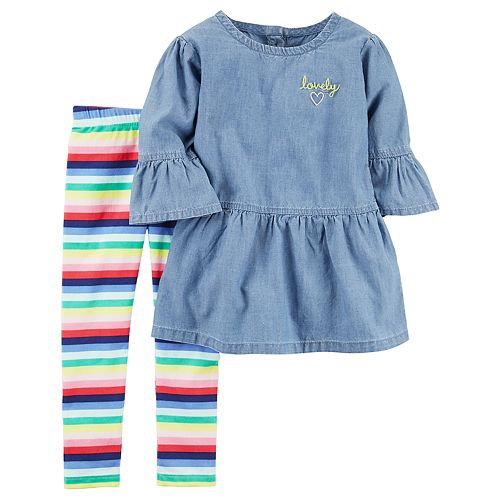 Girls 4-8 Carter's Chambray Tunic & Rainbow Stripe Leggings