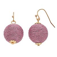 Pink Thread Wrapped Crispin Drop Earrings