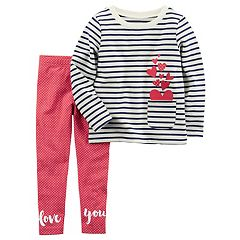Girls 4-8 Carter's Heart Striped Pocket Top & 'Love You' Leggings Set