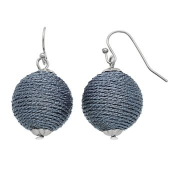 Blue Thread Wrapped Crispin Drop Earrings