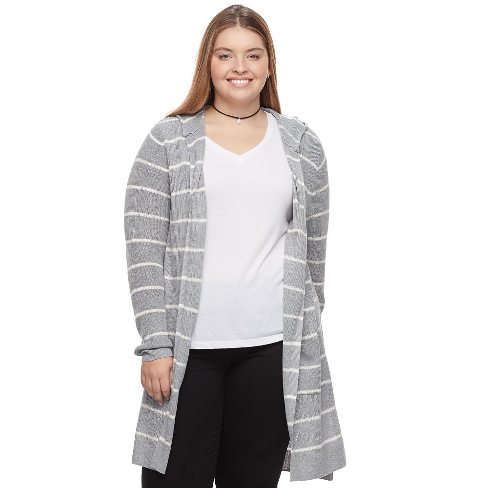 Plus Size SO® Hooded Long Cardigan Sweater